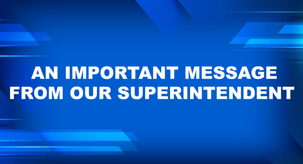 Message from the Superintendent 3/20/20